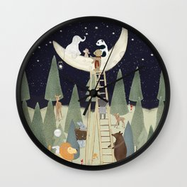 the moon forest Wall Clock