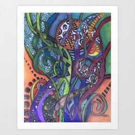 Jungle Facets - Mixed Media Original Art Art Print