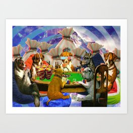 Poker Dogs From Space Art Print