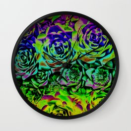 Psychedelic Flower Rows Wall Clock