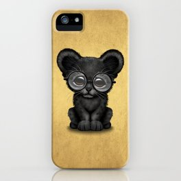 Cute Baby Black Panther Cub Wearing Glasses on Yellow iPhone Case