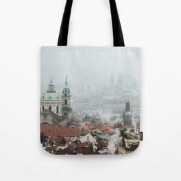 Cold Mornings over Prague Tote Bag