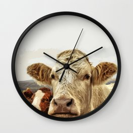 A cow greeting is like no other Wall Clock