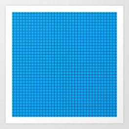 Blue Grid Black Line Art Print