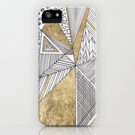 Black and white faux gold geometric patterns  iPhone Case