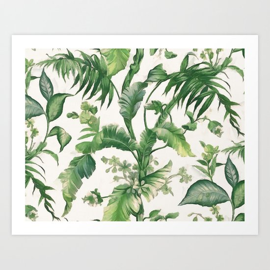 Green tropical leaves Art Print