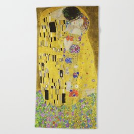 The Kiss - Gustav Klimt, 1907 Beach Towel