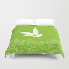 Love and Freedom - Green Duvet Cover