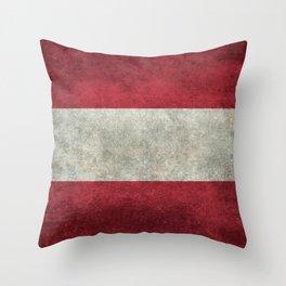 Austrian National Flag - Vintage Version Throw Pillow