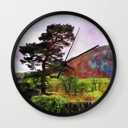 Pine and dry stone wall at Grasmere, Lake District, England Wall Clock