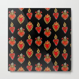 Sacred hearts pattern Metal Print