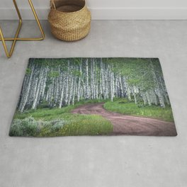 Roadway through a Birch Tree Grove Rug