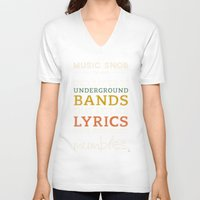bands V-neck T-shirts featuring MORE Mumbling Bands — Music Snob Tip #095.5 by Elizabeth Owens