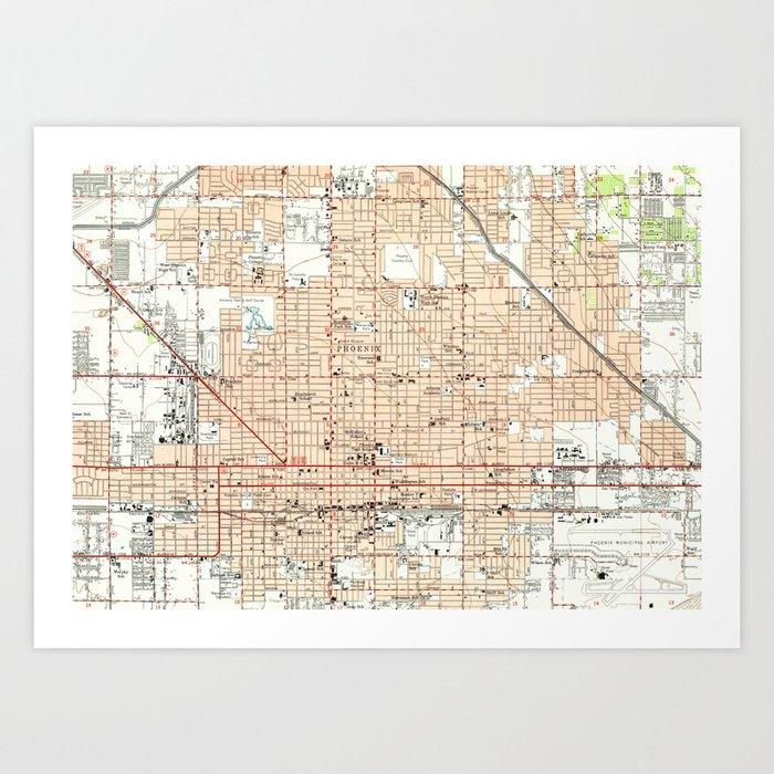 Vintage Map of Phoenix Arizona (1952) Kunstdrucke von bravuramedia ...