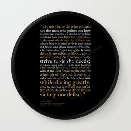 Man in the Arena / Theodore Roosevelt Black & Yellow Wall Clock