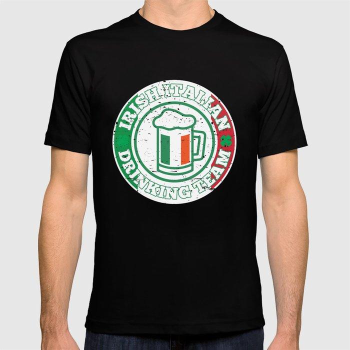 Irish Italian Drinking Team Italy Flag St Patricks T Shirt By Teepsy