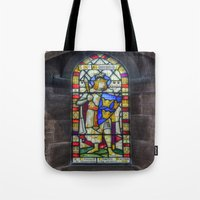 stained glass Tote Bags featuring Stained Glass by Ian Mitchell