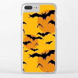 Abstract orange yellow black halloween bats animal pattern Clear iPhone Case