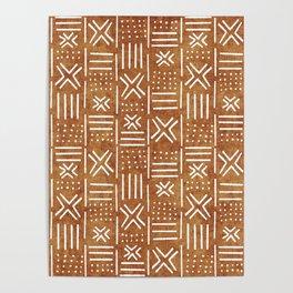 Mudcloth - tribal decor, mud cloth decor, mud cloth bedding, mudcloth curtains, rust, rust color, trendy decor Poster