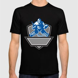 Ice Hockey Goalie Crest Retro T-shirt