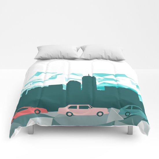 City, mountain and cars Comforters