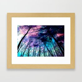 Black Trees Colorful SpacE Framed Art Print