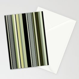 Mossy green and black, striped, textured. Stationery Cards
