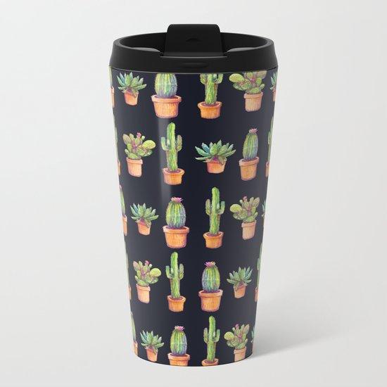 Cactus at Night Metal Travel Mug