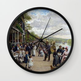 Sunday in Bas-Meudon Landscape Painting by Firmin-Girard Wall Clock