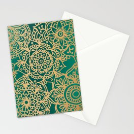 Teal Green and Gold Mandala Pattern New 2020 Stationery Cards