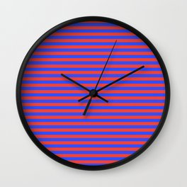 Even Horizontal Stripes, Blue and Red, S Wall Clock