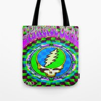 grateful dead Tote Bags featuring Grateful Dead #9 Optical Illusion Psychedelic Design by CAP Artwork & Design