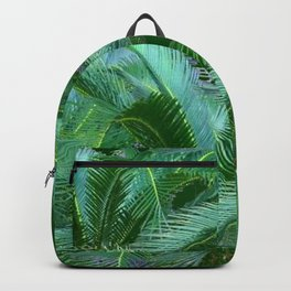 ABSTRACTED BLUE-GREEN TROPICAL PALMS GREEN ART Backpack