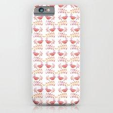 Orange floral pattern with bird iPhone 6s Slim Case