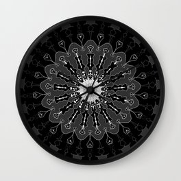 Black and White Floral Spiral Digital Art Wall Clock