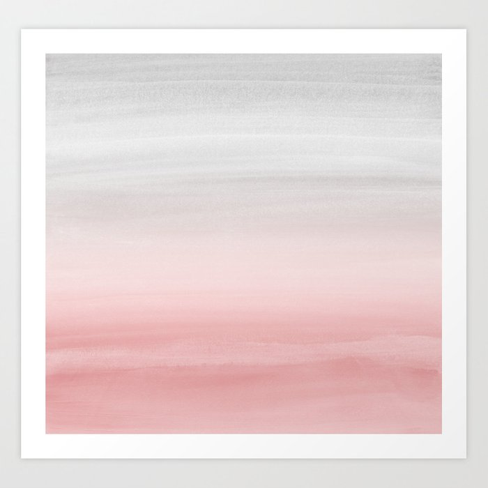 Touching Blush Gray Watercolor Abstract #1 #painting #decor #art #society6 Art Print