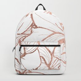 Modern handdrawn abstract faux rose gold flowers pattern Backpack