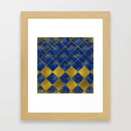 Lapis Lazuli and gold pattern Framed Art Print