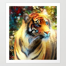 Clover Blossom Tigress Art Print