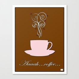 Aaah...coffee...  Retro / Vintage Coffee Print Fresh Shell on Cocoa Bean Background Canvas Print