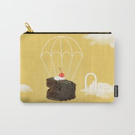 Isolated Chocolate cherry cake with parachute on yellow sky background Carry-All Pouch