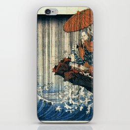Ukiyo-e, Utagawa Kuniyoshi, Priest Nichiren praying under the storm iPhone Skin
