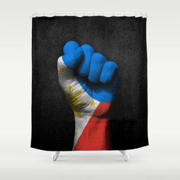 Filipino Flag on a Raised Clenched Fist Shower Curtain