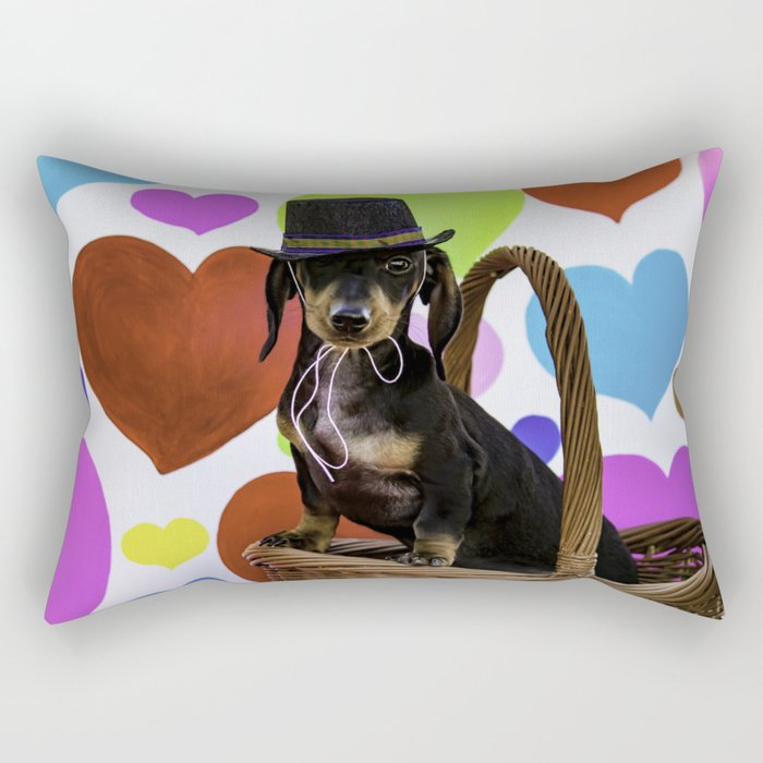 Black and Tan Dachshund Puppy Wearing a Top Hat in front of Valentine's Day Heart Background Rectangular Pillow