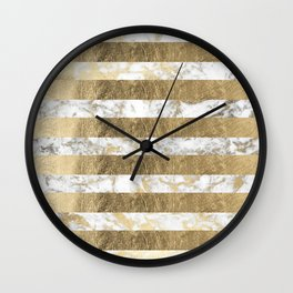 Elegant sophisticated white faux gold marble stripes Wall Clock
