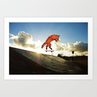 skateboard Art Prints featuring Skateboard FOX! by Jesse Robinson Williams