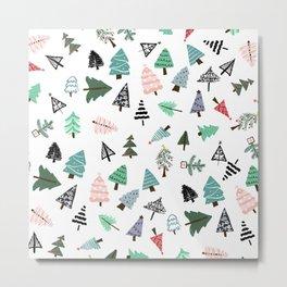 Cute whimsical Christmas trees pattern illustration Metal Print