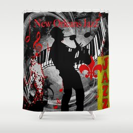 New Orleans Jazz Saxophone And Piano Music Shower Curtain