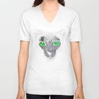 black cat V-neck T-shirts featuring Black Cat by Sitchko Igor