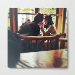 Love In A Paris Cafe. Metal Print